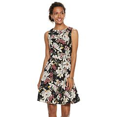 Petite Suite 7 Pleated Floral Fit & Flare Dress