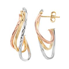Forever 14K Tri Tone Drop Earrings