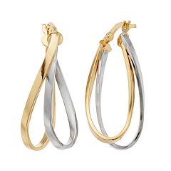 Forever 14K Two Tone Oval Hoop Earrings