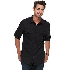 Men's Rock & Republic Military Roll-Tab Button-Down Shirt