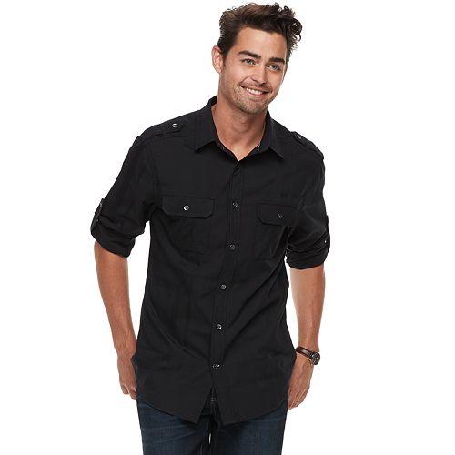 Men's Rock & Republic Military Roll-Tab Button-Down Shirt