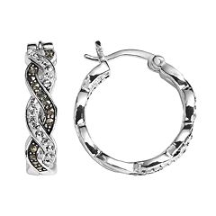 Silver Expressions by LArocks Crystal & Marcasite Twist Hoop Earrings