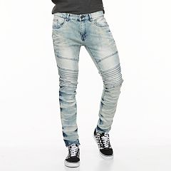 Men's RawX Slim-Fit Moto Faded Stretch Jeans