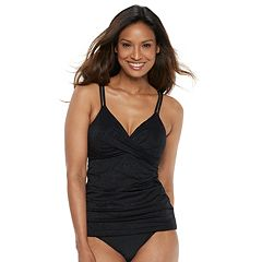Women's Croft & Barrow® Bust Enhancer Crossover Tankini Top