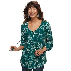 Petite SONOMA Goods for Life™ Printed Pintuck Peasant Top