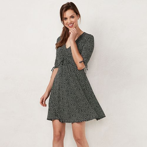 Petite LC Lauren Conrad Print Fit & Flare Dress