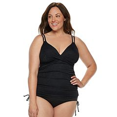 Plus Size Croft & Barrow® Bust Enhancer Crossover Tankini Top