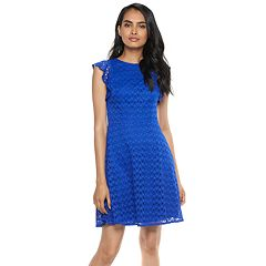 Petite Suite 7 Dot Lace Fit & Flare Dress
