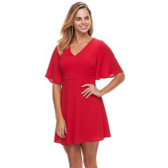 Petite Suite 7 Crepe Short Sleeve Fit & Flare Dress
