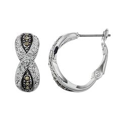 Silver Expressions by LArocks Silver Plated Crystal & Marcasite Crisscross Hoop Earrings