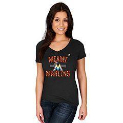 Women's Majestic Miami Marlins Relentless Tee