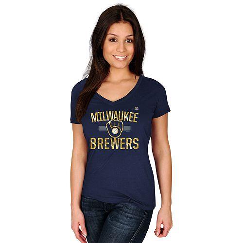 Women's Majestic Milwaukee Brewers Relentless Tee