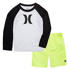 Toddler Boy Hurley Logo Rash Guard Top & Swim Trunks Set