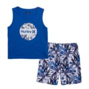 Toddler Boy Hurley Graphic Tank Top  & Tropical Print Shorts Set