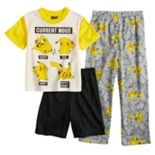 Boys 6-12 Pokemon Pikachu 3-Piece Pajama Set
