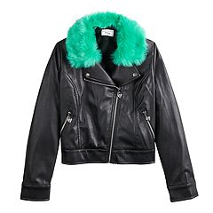 Disney D-Signed Descendants Girls 7-16 Moto Jacket with Faux Fur collar