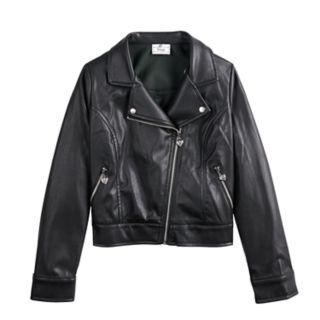 Disney D-Signed Descendants Girls 7-16 Moto Jacket with Faux Fur collar