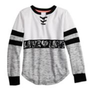 Girls 7-16 & Plus Size Miss Chievous Lace Up Sequined Graphic Sweatshirt