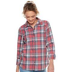 Juniors' SO® Plaid Button Down Shirt