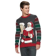Men's Santa Drinking Beer Christmas Sweater