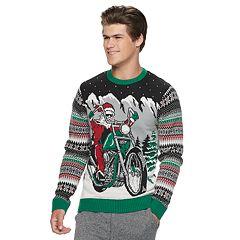 Men's Motorcycle Santa Light-Up Christmas Sweater
