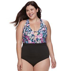 49827b892f508 Plus Size LC Lauren Conrad Tie-Front One-Piece Swimsuit. (1). Regular