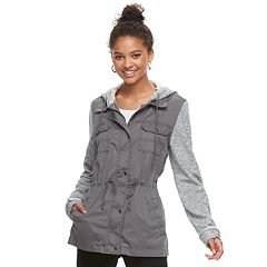 Juniors' Mudd® Knit Sleeve Utility Jacket