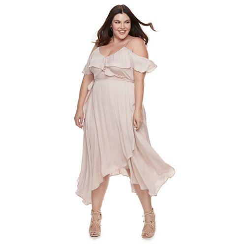 Plus Size Jennifer Lopez Cold-Shoulder Faux-Wrap Dress