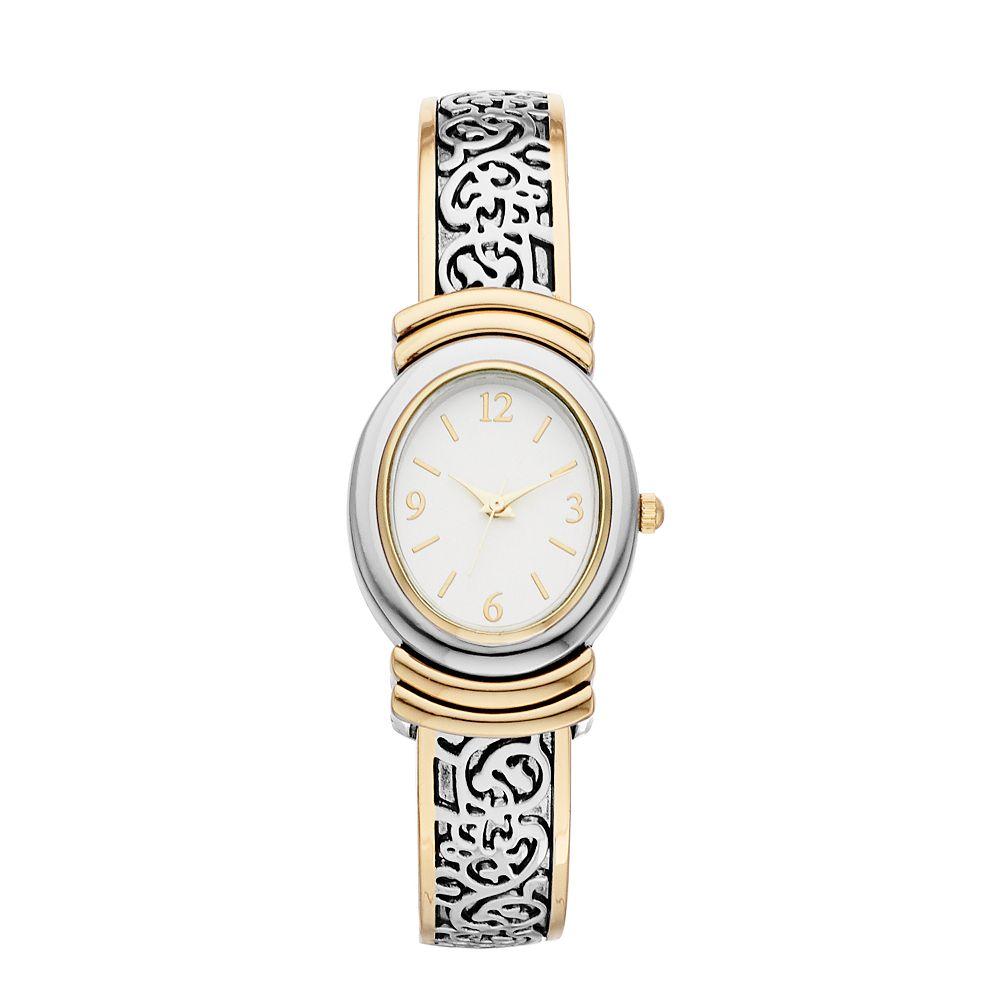 Women's Two Tone Filigree Bangle Watch