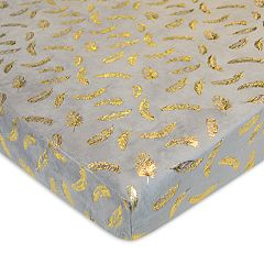 TL Care Metallic Feathers Chenille Fitted Portable/Mini Crib Sheet