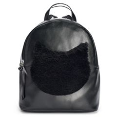 T-Shirt & Jeans Faux-Fur Cat Face Mini Backpack