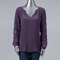 Women's Simply Vera Vera Wang Chiffon & Satin Peasant Top