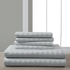 Grand Collection Luxury Palace Woven Stripe 1200 Thread Count Cotton Rich Sheet Set with Extra Pillowcases