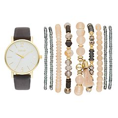 Folio Women's Watch & Beaded Stretch Bracelet Set