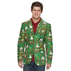 Men's Christmas Patchwork Pattern Blazer