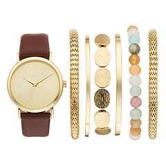 Folio Women's Watch & Mesh Stretch Bracelet Set