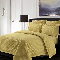 Tribeca Living Brisbane Solid Oversized Diamond Quilt Set