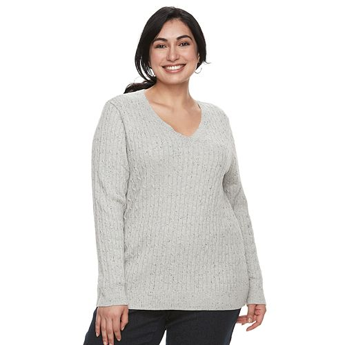 Plus Size Croft & Barrow® Essential Cable Knit V-Neck Sweater