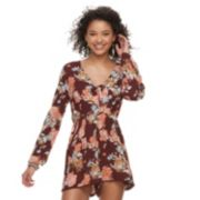 Juniors' Rewind Bell Long Sleeve Romper