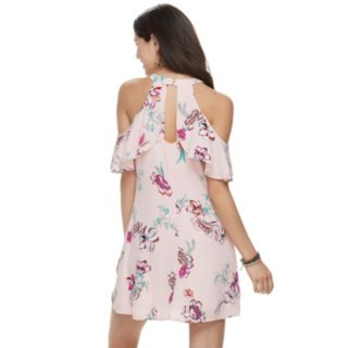 Juniors' Candie's® Cold-Shoulder High-Neck Swing Dress