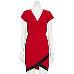 68ea3181e Juniors' Almost Famous Short Sleeve Bodycon Wrap Dress