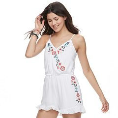 Juniors' Trixxi Surplice Embroidered Romper