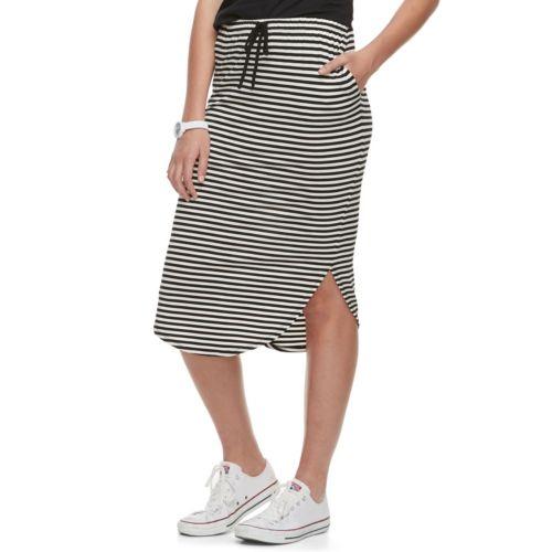 Juniors' Joe B Curved Hem Midi Skirt