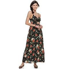 Juniors' Trixxi Floral Cutout Front Maxi Dress