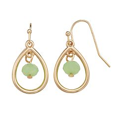 LC Lauren Conrad Green Bead Nickel Free Teardrop Earrings