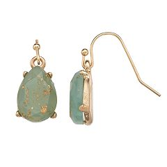 LC Lauren Conrad Green Nickel Free Teardrop Earrings