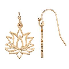 LC Lauren Conrad Lotus Flower Nickel Free Drop Earrings