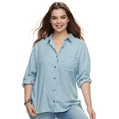 Juniors' Plus Size SO® Chambray Button Down Shirt