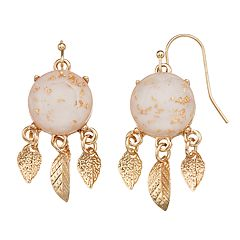 LC Lauren Conrad Pink Nickel Free Leaf Drop Earrings