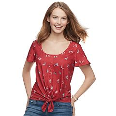Juniors' SO® Print Knot-Front Tee